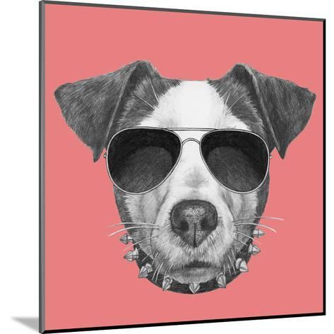 Original Drawing of Jack Russell with Collar and Sunglasses. Isolated on Colored Background-victoria_novak-Mounted Art Print