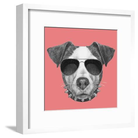 Original Drawing of Jack Russell with Collar and Sunglasses. Isolated on Colored Background-victoria_novak-Framed Art Print