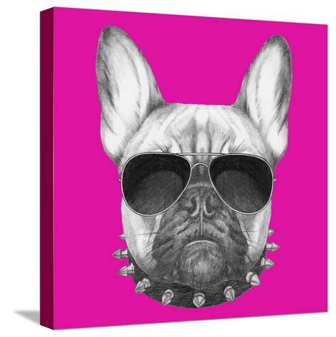 Original Drawing of French Bulldog with Collar and Sunglasses. Isolated on Colored Background.-victoria_novak-Stretched Canvas Print