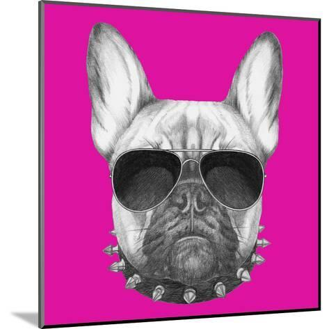 Original Drawing of French Bulldog with Collar and Sunglasses. Isolated on Colored Background.-victoria_novak-Mounted Art Print