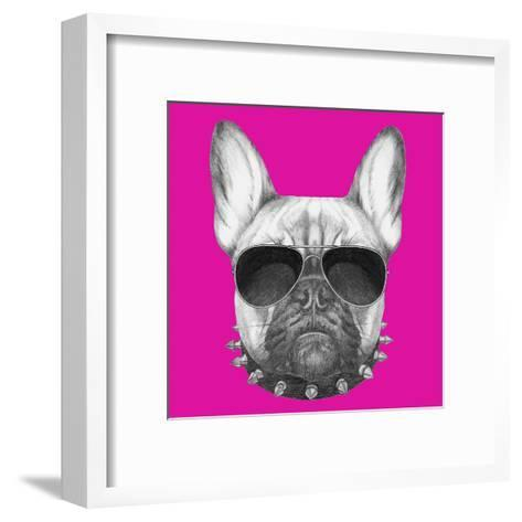 Original Drawing of French Bulldog with Collar and Sunglasses. Isolated on Colored Background.-victoria_novak-Framed Art Print