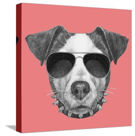 Original Drawing of Jack Russell with Collar and Sunglasses. Isolated on Colored Background-victoria_novak-Stretched Canvas Print