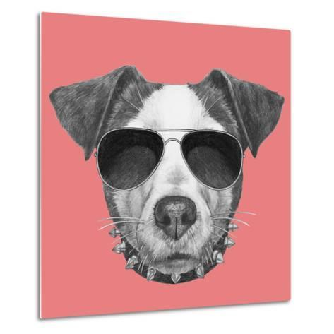 Original Drawing of Jack Russell with Collar and Sunglasses. Isolated on Colored Background-victoria_novak-Metal Print