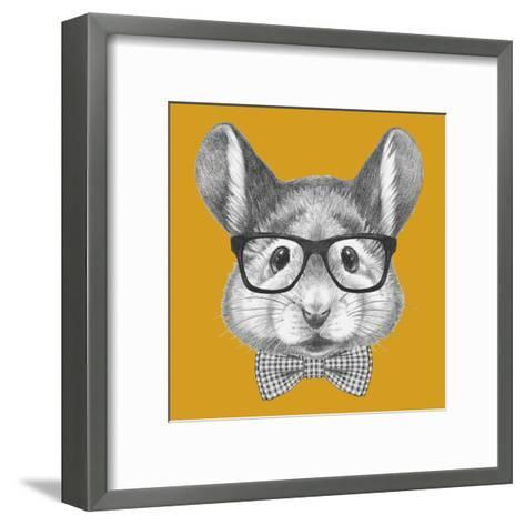 Portrait of Mouse with Glasses and Bow Tie. Hand Drawn Illustration.-victoria_novak-Framed Art Print