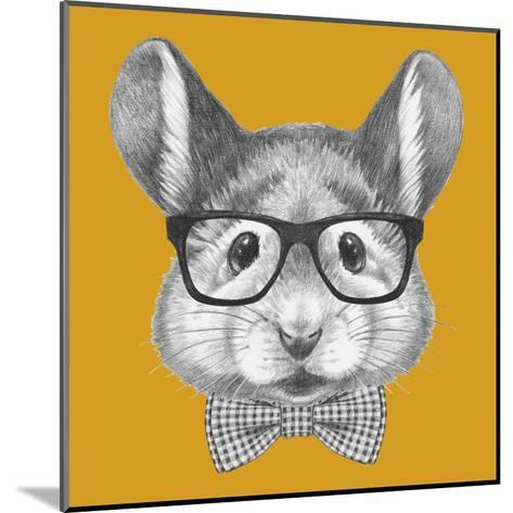 Portrait of Mouse with Glasses and Bow Tie. Hand Drawn Illustration.-victoria_novak-Mounted Art Print
