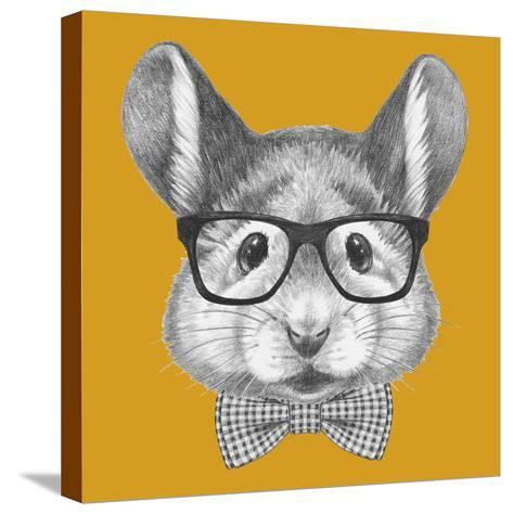 Portrait of Mouse with Glasses and Bow Tie. Hand Drawn Illustration.-victoria_novak-Stretched Canvas Print