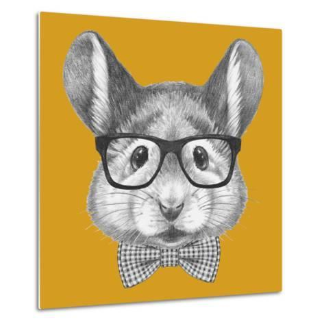Portrait of Mouse with Glasses and Bow Tie. Hand Drawn Illustration.-victoria_novak-Metal Print