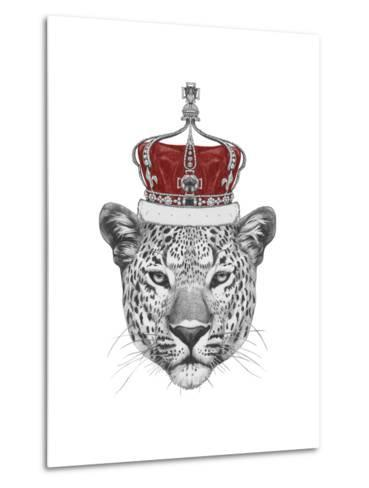 Original Drawing of Leopard with Crown. Isolated on White Background-victoria_novak-Metal Print