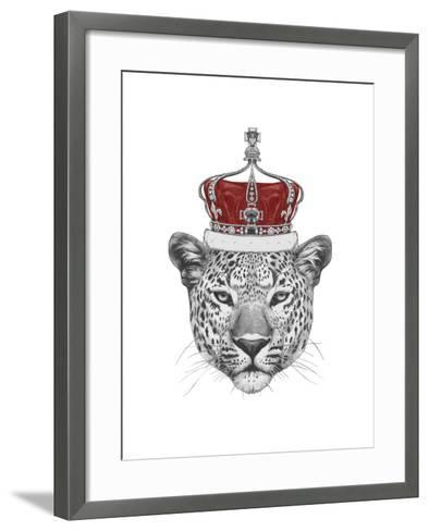 Original Drawing of Leopard with Crown. Isolated on White Background-victoria_novak-Framed Art Print