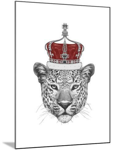 Original Drawing of Leopard with Crown. Isolated on White Background-victoria_novak-Mounted Art Print