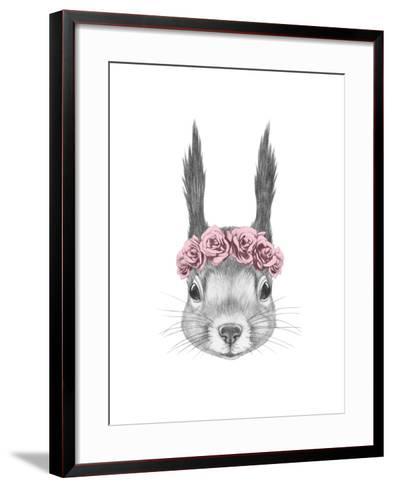 Portrait of Squirrel with Floral Head Wreath. Hand Drawn Illustration.-victoria_novak-Framed Art Print