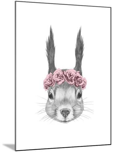Portrait of Squirrel with Floral Head Wreath. Hand Drawn Illustration.-victoria_novak-Mounted Art Print