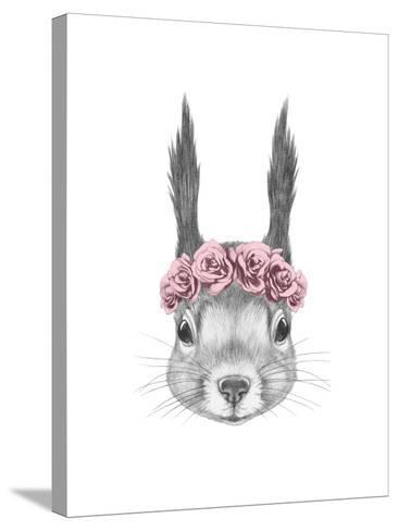Portrait of Squirrel with Floral Head Wreath. Hand Drawn Illustration.-victoria_novak-Stretched Canvas Print