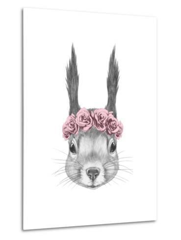 Portrait of Squirrel with Floral Head Wreath. Hand Drawn Illustration.-victoria_novak-Metal Print