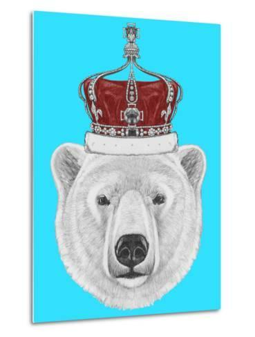 Portrait of Polar Bear with Crown. Hand Drawn Illustration.-victoria_novak-Metal Print
