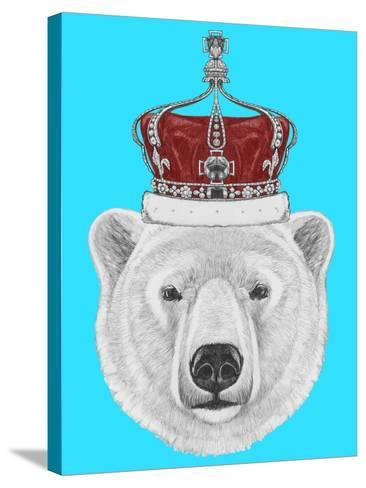 Portrait of Polar Bear with Crown. Hand Drawn Illustration.-victoria_novak-Stretched Canvas Print