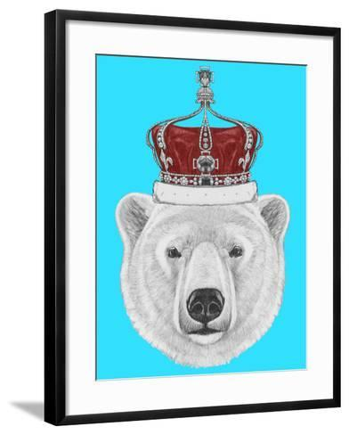 Portrait of Polar Bear with Crown. Hand Drawn Illustration.-victoria_novak-Framed Art Print