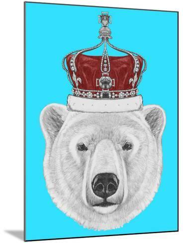 Portrait of Polar Bear with Crown. Hand Drawn Illustration.-victoria_novak-Mounted Art Print