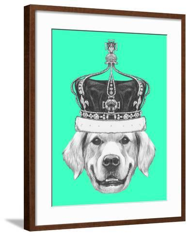 Portrait of Golden Retriever with Crown. Hand Drawn Illustration.-victoria_novak-Framed Art Print