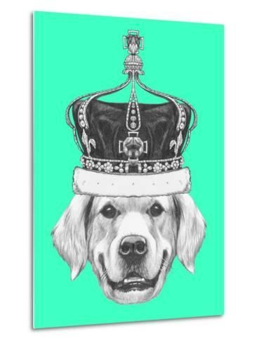 Portrait of Golden Retriever with Crown. Hand Drawn Illustration.-victoria_novak-Metal Print