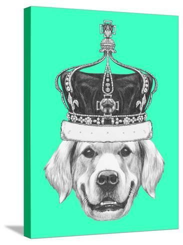 Portrait of Golden Retriever with Crown. Hand Drawn Illustration.-victoria_novak-Stretched Canvas Print