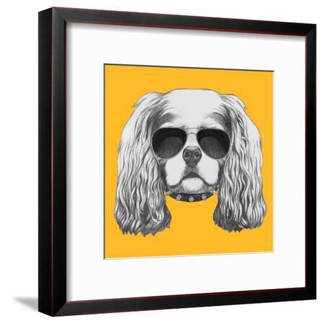 Portrait of Cavalier King Charles Spaniel with Sunglasses and Collar. Hand Drawn Illustration.-victoria_novak-Framed Art Print