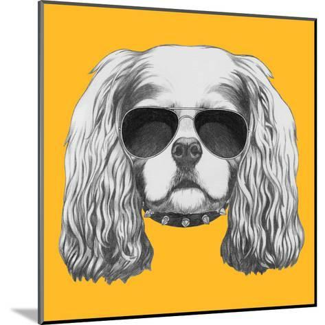 Portrait of Cavalier King Charles Spaniel with Sunglasses and Collar. Hand Drawn Illustration.-victoria_novak-Mounted Art Print