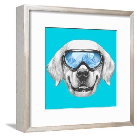 Portrait of Golden Retriever with Ski Goggles. Hand Drawn Illustration.-victoria_novak-Framed Art Print
