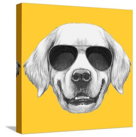 Portrait of Golden Retriever with Sunglasses. Hand Drawn Illustration.-victoria_novak-Stretched Canvas Print