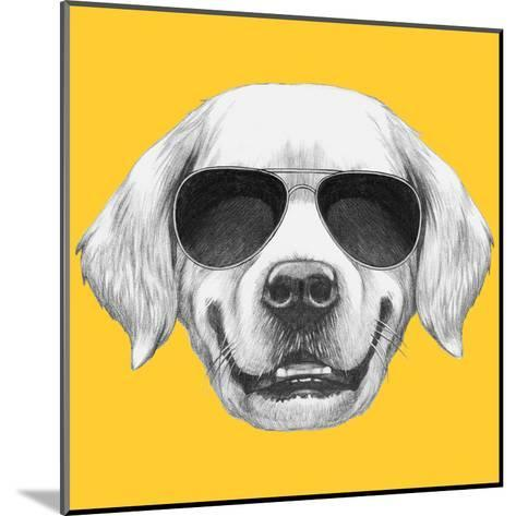 Portrait of Golden Retriever with Sunglasses. Hand Drawn Illustration.-victoria_novak-Mounted Art Print