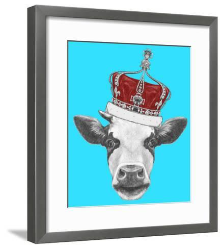 Portrait of Cow with Crown. Hand Drawn Illustration.-victoria_novak-Framed Art Print