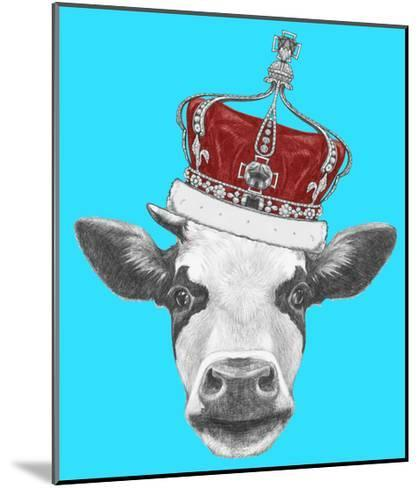 Portrait of Cow with Crown. Hand Drawn Illustration.-victoria_novak-Mounted Art Print