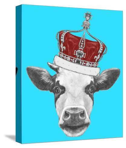 Portrait of Cow with Crown. Hand Drawn Illustration.-victoria_novak-Stretched Canvas Print