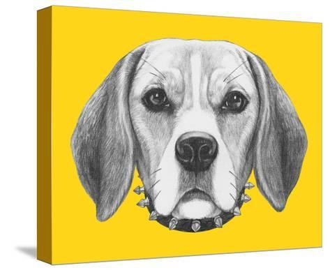 Portrait of Beagle Dog with Sunglasses and Collar. Hand Drawn Illustration.-victoria_novak-Stretched Canvas Print