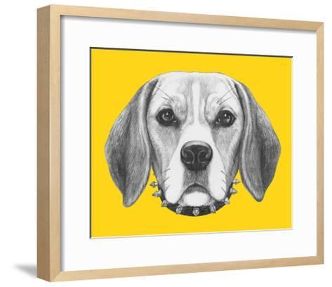 Portrait of Beagle Dog with Sunglasses and Collar. Hand Drawn Illustration.-victoria_novak-Framed Art Print
