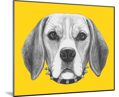 Portrait of Beagle Dog with Sunglasses and Collar. Hand Drawn Illustration.-victoria_novak-Mounted Art Print