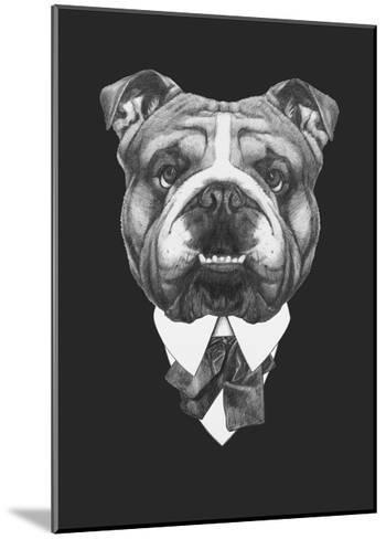 Portrait of English Bulldog in Suit. Hand Drawn Illustration.-victoria_novak-Mounted Art Print