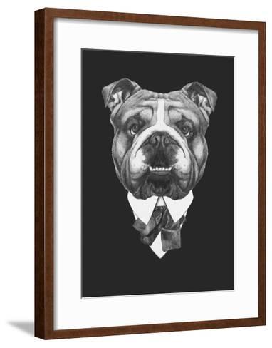 Portrait of English Bulldog in Suit. Hand Drawn Illustration.-victoria_novak-Framed Art Print