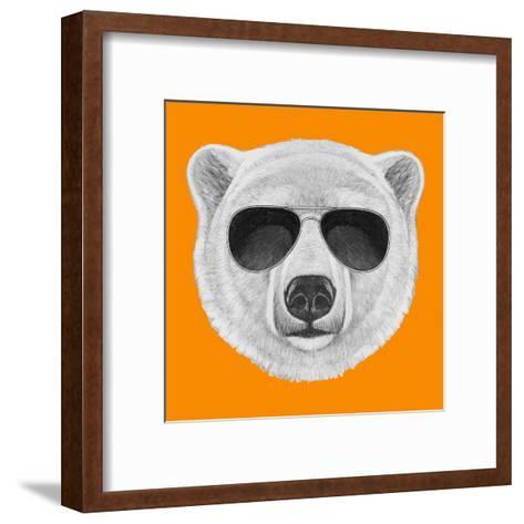 Portrait of Polar Bear with Sunglasses. Hand Drawn Illustration.-victoria_novak-Framed Art Print