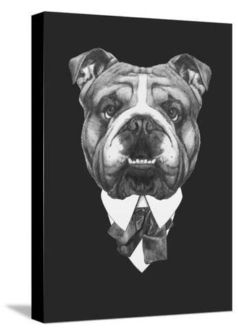 Portrait of English Bulldog in Suit. Hand Drawn Illustration.-victoria_novak-Stretched Canvas Print