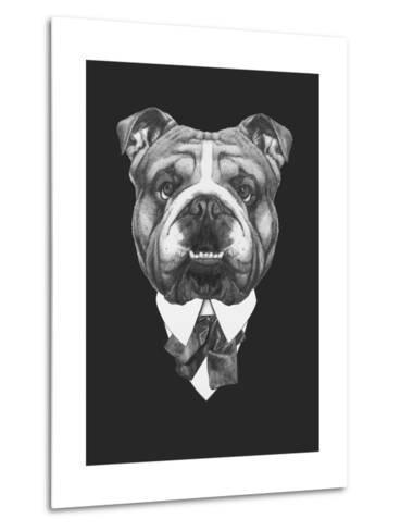 Portrait of English Bulldog in Suit. Hand Drawn Illustration.-victoria_novak-Metal Print