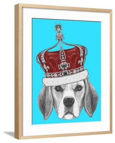 Portrait of Beagle Dog with Crown. Hand Drawn Illustration.-victoria_novak-Framed Art Print