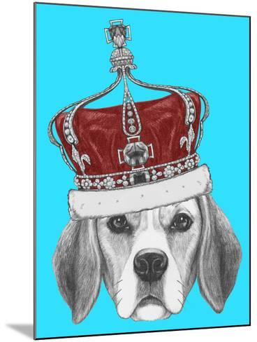 Portrait of Beagle Dog with Crown. Hand Drawn Illustration.-victoria_novak-Mounted Art Print