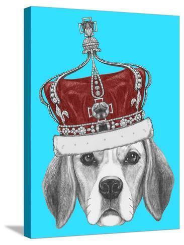 Portrait of Beagle Dog with Crown. Hand Drawn Illustration.-victoria_novak-Stretched Canvas Print
