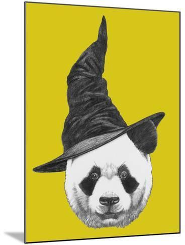 Portrait of Panda with Witch Hat. Halloween Illustration-victoria_novak-Mounted Art Print