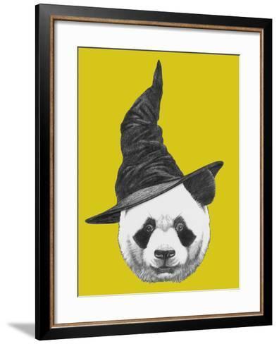 Portrait of Panda with Witch Hat. Halloween Illustration-victoria_novak-Framed Art Print