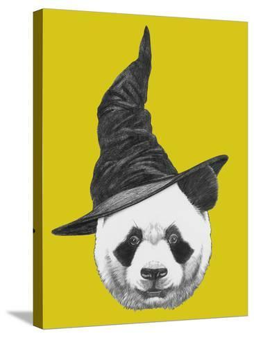 Portrait of Panda with Witch Hat. Halloween Illustration-victoria_novak-Stretched Canvas Print