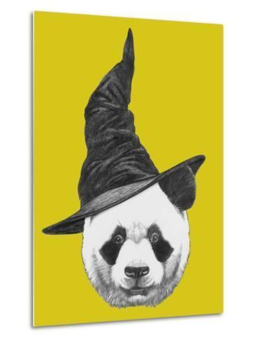 Portrait of Panda with Witch Hat. Halloween Illustration-victoria_novak-Metal Print