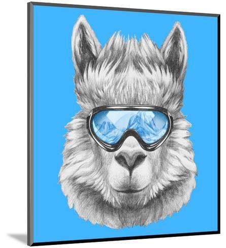 Portrait of Lama with Ski Goggles. Hand Drawn Illustration.-victoria_novak-Mounted Art Print