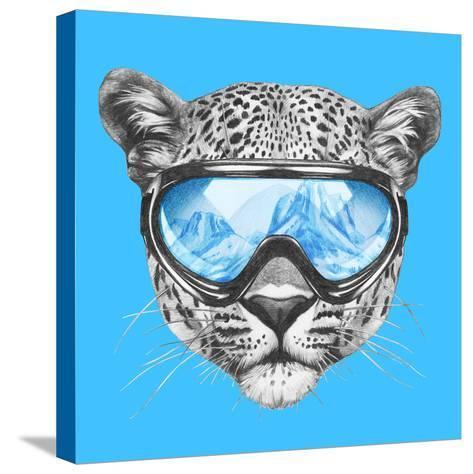 Portrait of Leopard with Ski Goggles. Hand Drawn Illustration.-victoria_novak-Stretched Canvas Print